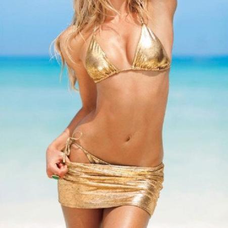 Королевский золотой купальник от Victoria Secret с юбочкой